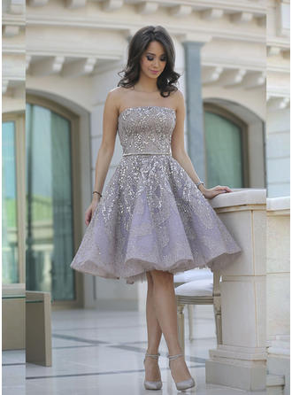A-Line/Princess Strapless Satin Sleeveless Knee-Length Ruffle Sash Beading Evening Dresses