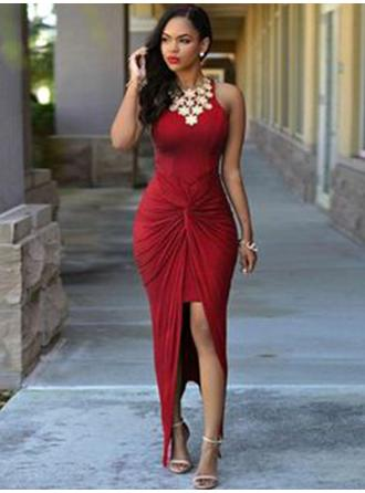 Flattering Jersey Prom Dresses Sheath/Column Asymmetrical Scoop Neck Sleeveless