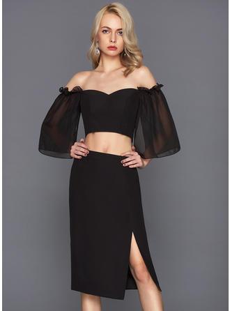Knee-Length Sheath/Column 1/2 Sleeves Chiffon Cocktail Dresses