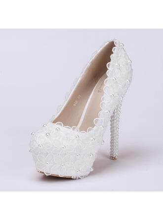 Women's Platform Pumps Stiletto Heel Leatherette With Flower Lace-up Wedding Shoes