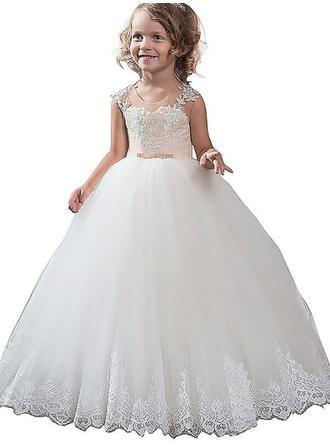 ثوب حفلة عنق مدور الطول الأرضي مع زين قماش رقيق شفاف فساتين فتاة الزهور