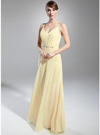 A-Line/Princess V-neck Chiffon Sleeveless Floor-Length Ruffle Beading Evening Dresses (017014746)