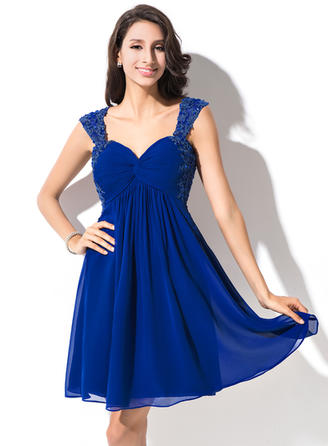 Empire Sweetheart Short/Mini Chiffon Homecoming Dresses With Ruffle Beading Appliques Lace Sequins