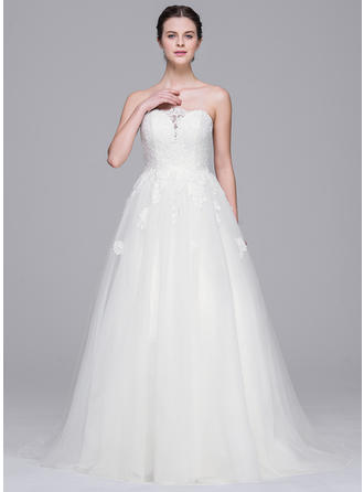 Beautiful Sweep Train A-Line/Princess Wedding Dresses Sweetheart Tulle Lace Sleeveless