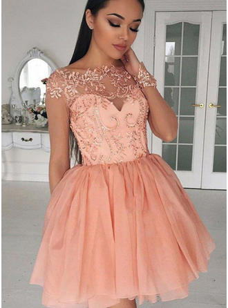2019 New Chiffon Homecoming Dresses A-Line/Princess Short/Mini Scoop Neck Long Sleeves