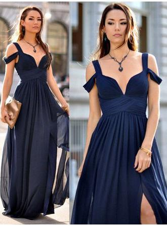 A-Line/Princess V-neck Floor-Length Chiffon Bridesmaid Dresses With Ruffle (007211586)