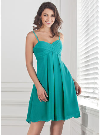 Chiffon Sleeveless Empire Bridesmaid Dresses Sweetheart Ruffle Short/Mini