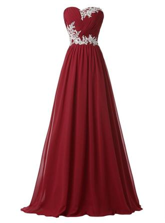 A-Line/Princess Sweetheart Floor-Length Evening Dress With Sequins Pleated