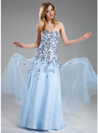Tulle Sleeveless A-Line/Princess Prom Dresses Sweetheart Appliques Lace Sequins Floor-Length
