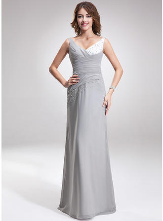 Chiffon Charmeuse Sleeveless A-Line/Princess Bridesmaid Dresses V-neck Ruffle Beading Floor-Length