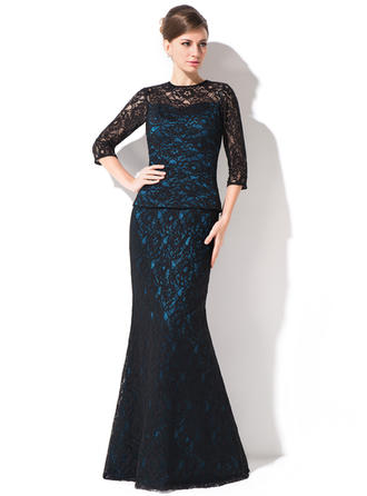 Trumpet/Mermaid Lace 1/2 Sleeves Scoop Neck Floor-Length Zipper Up Mother of the Bride Dresses