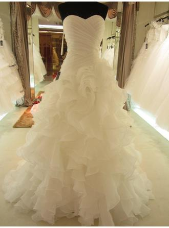 A-Line/Princess Sweetheart Sweep Train Wedding Dress With Ruffle Bow(s)