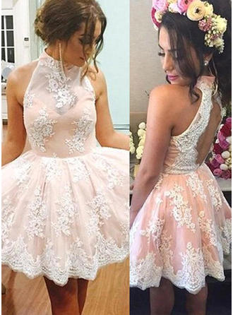 Fashion Lace Homecoming Dresses A-Line/Princess Knee-Length High Neck Sleeveless
