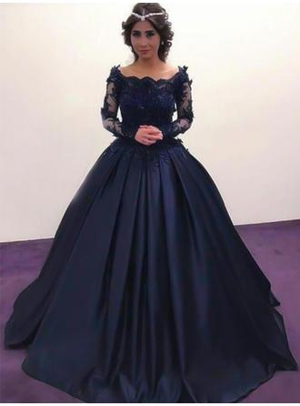Ball-Gown Off-the-Shoulder Satin Long Sleeves Floor-Length Beading Appliques Lace Evening Dresses