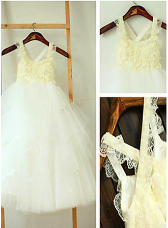 Square Neckline A-Line/Princess Flower Girl Dresses Ruffles Sleeveless Ankle-length