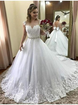 Scoop Ball-Gown Wedding Dresses Tulle Beading Appliques Lace Bow(s) Sleeveless Court Train