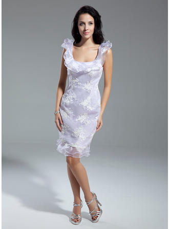 Sheath/Column Scoop Neck Knee-Length Organza Cocktail Dress With Appliques Lace Cascading Ruffles