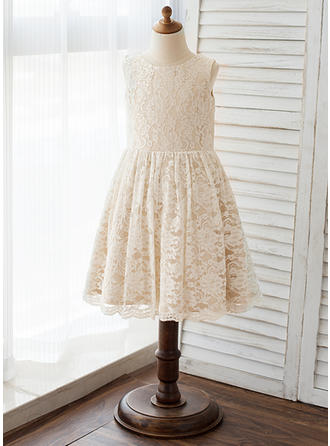 Scoop Neck A-Line/Princess Flower Girl Dresses Lace Lace Sleeveless Knee-length