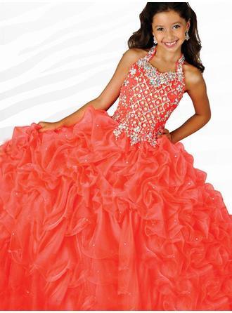 Ball Gown Halter Floor-length With Beading Organza Flower Girl Dresses