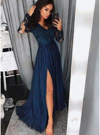 A-Line/Princess V-neck Chiffon Long Sleeves Sweep Train Split Front Evening Dresses