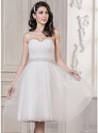 Sweetheart A-Line/Princess Wedding Dresses Tulle Ruffle Beading Sequins Sleeveless Knee-Length