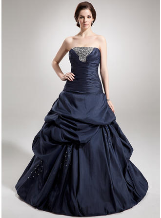 Taffeta Sleeveless Ball-Gown Prom Dresses Strapless Ruffle Beading Sequins Floor-Length