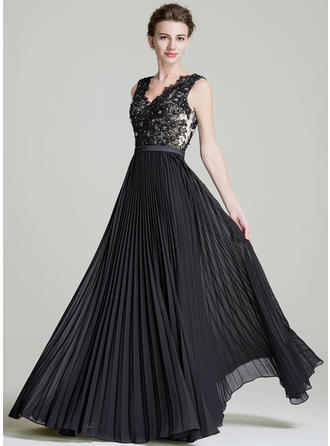 Chiffon Sleeveless Mother of the Bride Dresses V-neck A-Line/Princess Beading Sequins Pleated Floor-Length (008072723)