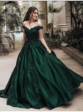Satin Sleeveless Ball-Gown Prom Dresses Off-the-Shoulder Beading Appliques Lace Sweep Train