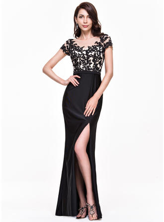 Trumpet/Mermaid Scoop Neck Floor-Length Evening Dresses With Beading Appliques Lace Sequins Split Front