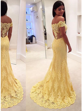 Elegant Lace Prom Dresses Trumpet/Mermaid Sweep Train Off-the-Shoulder Sleeveless