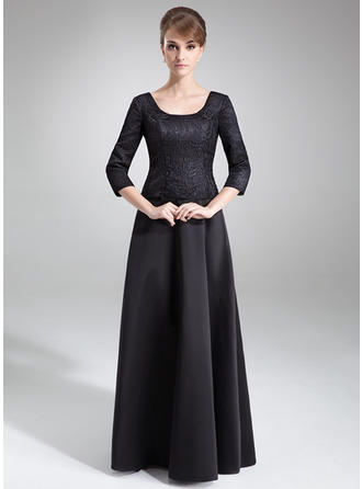 A-Line/Princess Scoop Neck Satin Lace 3/4 Sleeves Floor-Length Mother of the Bride Dresses (008211036)