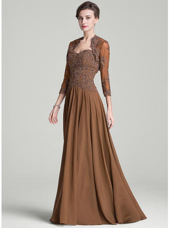 Chiffon Sleeveless Mother of the Bride Dresses Sweetheart A-Line/Princess Beading Appliques Lace Sequins Sweep Train
