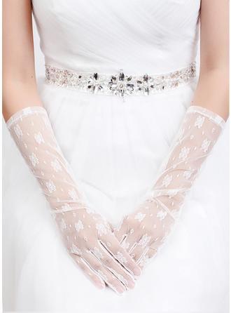 Tüll Ellenbogen Länge Braut Handschuhe
