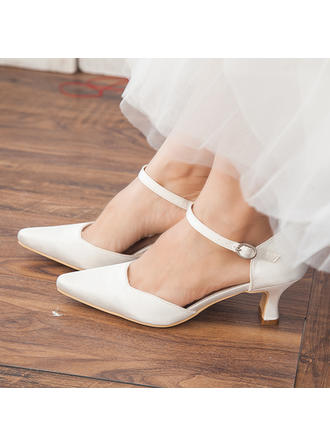 Women's Closed Toe Pumps Chunky Heel Satin Wedding Shoes