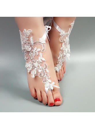 Kvinnor Spets Peep Toe Sandaler Beach Wedding Shoes med Stitching Lace Blomma Applikationer