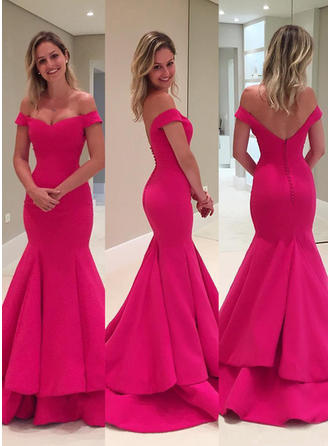 Satin Sleeveless Trumpet/Mermaid Prom Dresses Off-the-Shoulder Cascading Ruffles Sweep Train