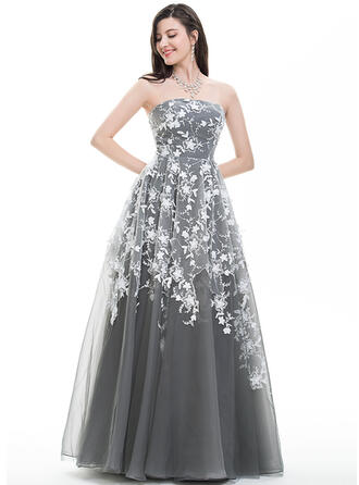 A-Line/Princess Strapless Floor-Length Tulle Prom Dresses With Sequins