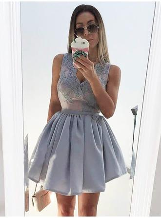 2019 New Satin Homecoming Dresses A-Line/Princess Short/Mini V-neck Sleeveless