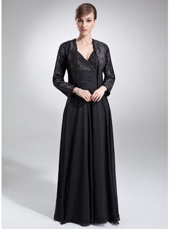 A-Line/Princess Chiffon Charmeuse Sleeveless V-neck Floor-Length Zipper Up Mother of the Bride Dresses