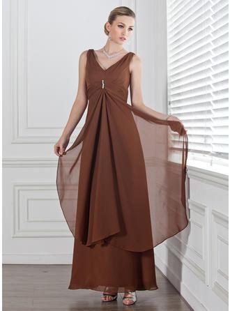 إمبراطورية V عنق طول الكاحل شيفون فستان وصيفة الشرف مع الخرز كشكشة متتالية