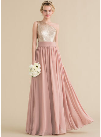 A-Line/Princess One-Shoulder Floor-Length Chiffon Sequined Prom Dresses