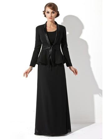 Sheath/Column Scoop Neck Floor-Length Mother of the Bride Dresses