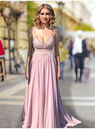 Chiffon Sleeveless Empire Prom Dresses V-neck Lace Sweep Train