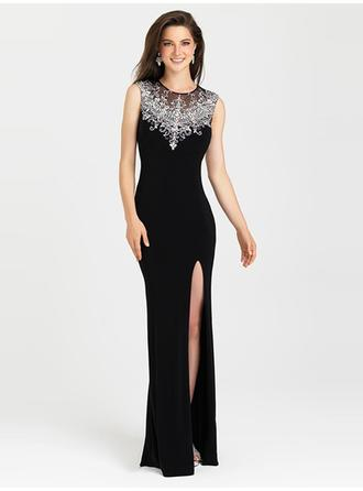 Sheath/Column Scoop Neck Sweep Train Evening Dresses With Beading Appliques Lace Split Front