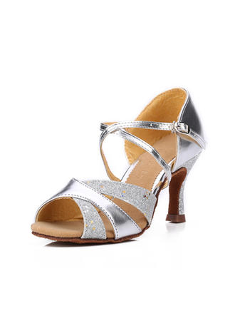Women's Latin Sandals Leatherette Sparkling Glitter Dance Shoes (053183184)