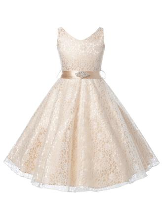 A-Line/Princess V-neck Floor-length With Beading Lace Flower Girl Dress