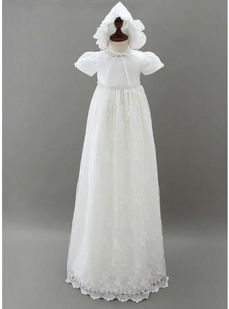 Scoop Neck A-Line/Princess Flower Girl Dresses Tulle/Lace Beading Short Sleeves Floor-length
