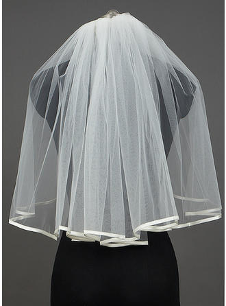 Elbow Bridal Veils Tulle One-tier Classic With Ribbon Edge Wedding Veils