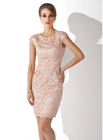 Sheath/Column Scoop Neck Knee-Length Mother of the Bride Dresses