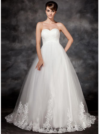 Tulle Empire Luxurious Appliques Wedding Dresses